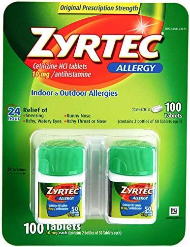 Zyrtec Cetrizine HCl Antihistamine tablets