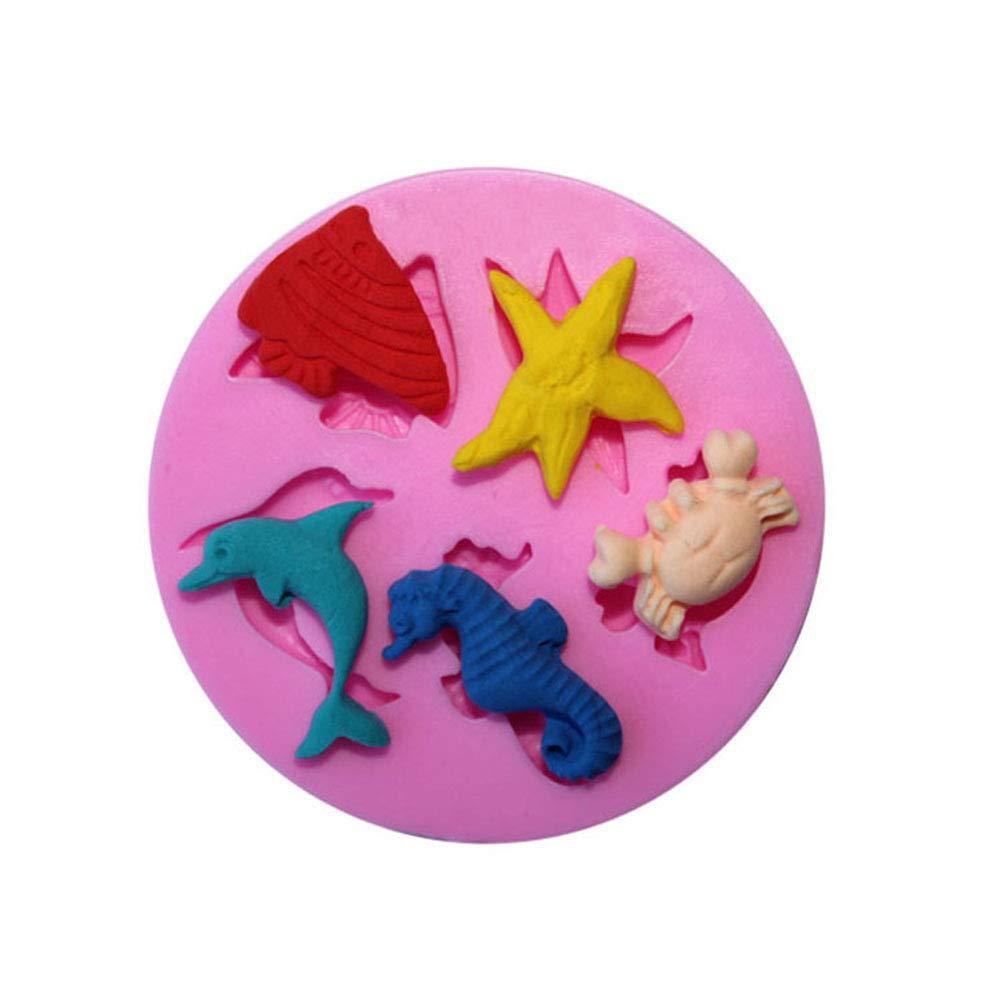 Slendima Silicone Creative Fish Starfish Crab Design Cake Molds DIY Handmade Fondant Decorating Tool for Baking