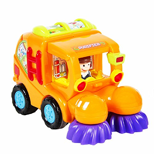 Friction Powered Cars Construction Vehicle Toys for Baby Toddlers Over 18 Months, Mixer Truck, Sweeper Truck, Harvester Truck, Push Forward and Running Toys Early Educational Cartoon Set of 3
