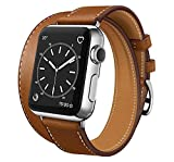 SUPSUN Compatible for Iwatch Band, Genuine Leather Double Tour Iwatch Bands Series 1 2 3 4 for Women Designer Replacement Band Compatible with Iwatch Series 4/3/2/1 (D-Brown, 38mm/40mm)