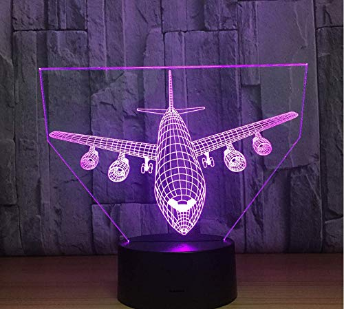 - Hnfsliuhao Remote Control Boeing Air Plane 3D Lamp Led Table Lamp Optical Illusion Aircraf Night Light 7 Colors Changing USB Lamp