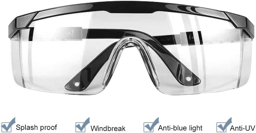 Promise2134 Safety Glasses Anti-Fog Splash Goggles Temple Legs Adjustable Dust-Proof Glasseswith Clear Anti-Scratch Lens