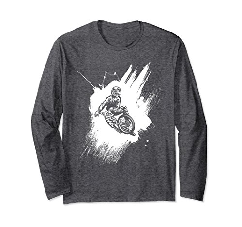 ium Long Sleeve T-Shirt Biker Splatter Stain 2XL Dark Heather (Splatter Premium T-shirt)
