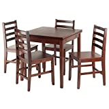 Winsome Wood Solid Wood Pulman 5 Piece Set Extension Table with Ladder Back Chairs