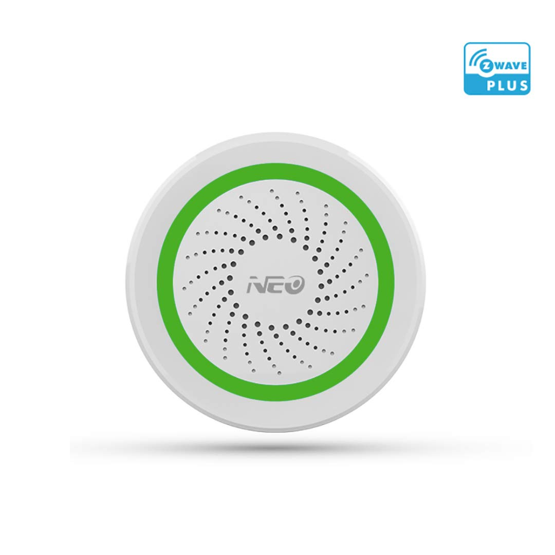 NEO Z Wave Siren Alarm Battery-Powered & USB Power Charged Works with SmartThings