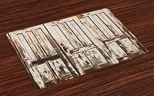 Ambesonne Rustic Place Mats Set of 4, Vintage House Entrance with Vertical Old Planks Distressed Rustic Hardwood Design, Washable Fabric Placemats for Dining Table, Standard Size, Brown White