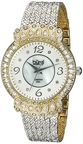 Burgi Women's BUR120SSG Diamond & Crystal Accented Mother-of-Pearl Dial Yellow Gold and Silver Bracelet Watch - Mother Of Pearl Yellow Bracelet