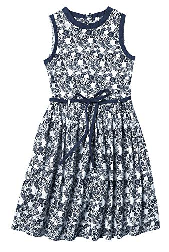 maoo garden Girls Floral Cotton Summer Sundress Long Sleeveless Pleated Holiday Party Ruffle Neck Dress