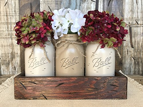 Mason Canning Jar Table Centerpiece with 3 Hand Painted Ball QUART Jars in Distressed Wood Tray red white blue rusty handles -THISTLE, SAND, COFFEE (pictured) -Hydrangea Flowers (optional) *BEAUTIFUL* ()