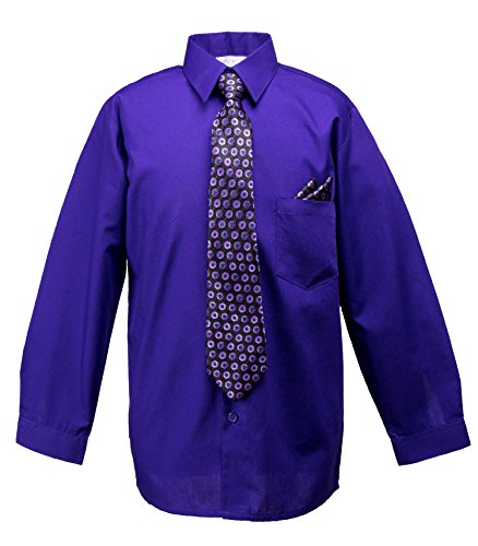 Spring Notion Baby Boys' Dress Shirt with Tie and Handkerchief Set 2T Violet Purple (Handkerchief Violet)