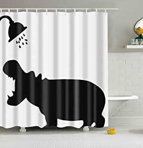 Mantto Hippo Bath Shower Curtains Eve New Year Decorative Decor Gift Shower Curtains, Polyester Fabric Bathroom Shower Curtain Set with Hooks 72x72 inch (Hippo, 72'' W x 72'' H)