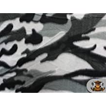 "Fleece Printed CAMOUFLAGE GREY Fabric / 58""/ sold by the yard S-323"