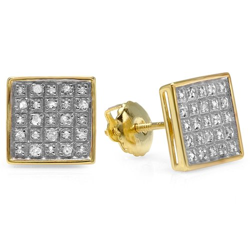 0.25 Carat (ctw) 18K Yellow Gold Plated Sterling Silver Diamond Square Men's Stud Earrings 1/4 (0.25 Ct Diamond Square)