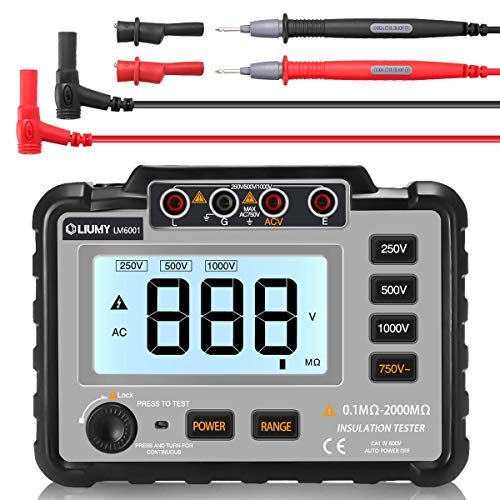 - LIUMY Insulation Resistance Tester, 250V ~ 1000V Resistance Meter with Test Lead & Crocodile Clip