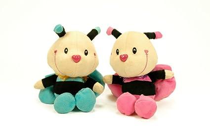 CAPRILO Lote de 2 Peluches Infantiles Decorativos Abejas con Sonajero en 2 Colores Juguetes Infantiles.