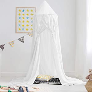 Didihou Bed Canopy for Girls Mosquito Net Princess Bed Canopy Hanging Play Tent Bed Netting for Kids Playing Reading Corner for Baby Boys and Girls (Chiffon-White)