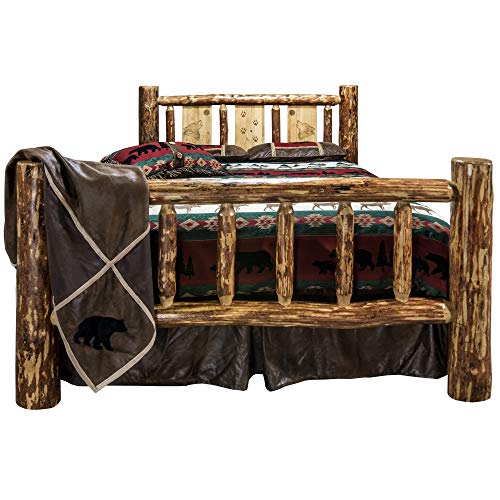 Montana Woodworks MWGCCAKBLZWOLF Glacier Country Collection California King Bed Brown