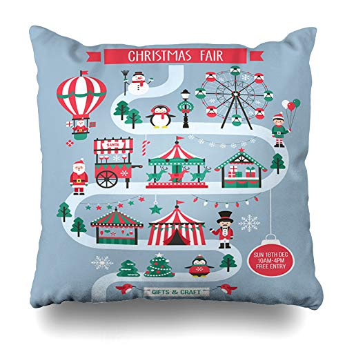 DIYCow Throw Pillows Covers Market Tent Christmas Holiday Fair Tree Kiosk Air Balloon Carousel Cart Design Snowman Home Decor Pillowcase Square Size 20 x 20 Inches Cushion Case