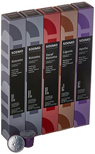 Amazon Brand - 50 Ct. Solimo Espresso Pods, Variety Pack, Nespresso OriginalLine Compatible Capsules