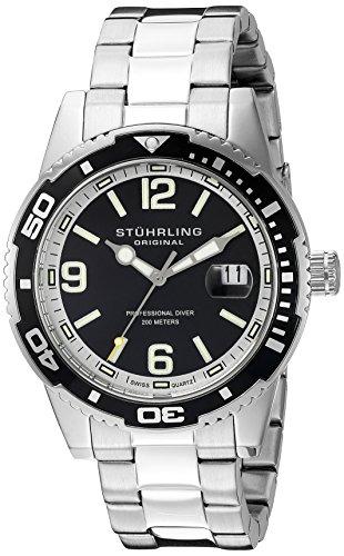 Stuhrling Original Men's 415.01 Aquadiver Regatta Analog Display Swiss Quartz Silver ()