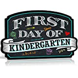 Bigtime Signs First Day of School Sign | Chalkboard Style | Kindergarten Plaque | Back to School Sign | Use as Photo Prop for a Boy or Girl | 10 inches x 15.5 inches (Kindergarten)