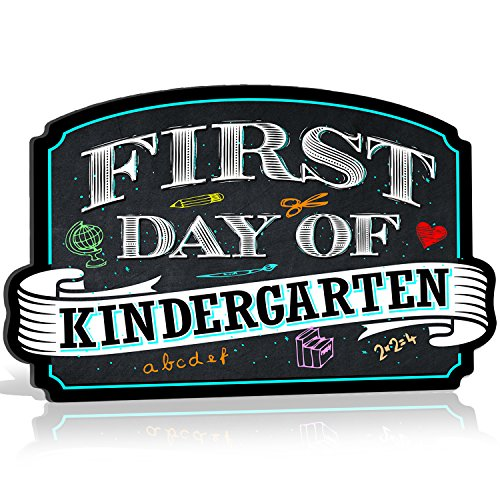 Bigtime Signs First Day of School Sign | Chalkboard Style | Kindergarten Plaque | Back to School Sign | Use as Photo Prop for a Boy or Girl | 10 inches x 15.5 inches (Kindergarten) -