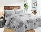 The Kingsford Everyday Luxury 7 piece Reversible Duvet Cover set with 2 Pillow Cases, 2 pillow shams & 2 Zippered pillow protectors, Egyptian Cotton Rich Percale Vintage Patchwork Grey King