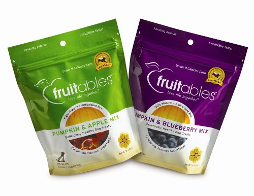 Fruitables Pumpkin and Apple/Pumpkin and Blueberry, Crunchy Baked Dog Treats, Combo Pack, 2 7-ounce Pouches, My Pet Supplies