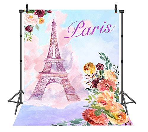Sensfun Paris Themed Eiffel Tower Photo Booth Backdrop Bridal Shower Banner Birthday Party Decoration Background Vinyl Photography Props 6x8ft]()