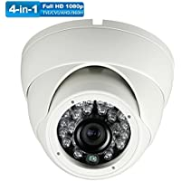Universal Dome Security Camera 1080P 4 in1 (TVI, AHD, CVI, CVBS) 3.6mm Fixed 2.4MP Image Sensor Day/Night 65ft IR Distance Indoor & Outdoor IP 67 Waterproof Surveillance camera