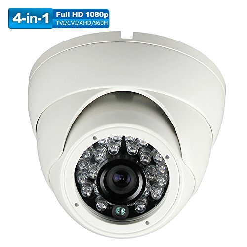 - Universal Dome Security Camera 1080P 4 in1 (TVI, AHD, CVI, CVBS) 3.6mm Fixed 2.4MP Image Sensor Day/Night 65ft IR Distance Indoor & Outdoor IP 67 Waterproof Surveillance camera