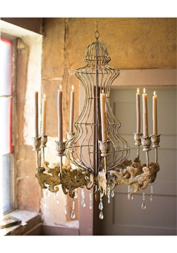 Huge Big Candle Rustic Tin Chandelier w Crystals for Home or Movie Studio Prop Old Finish by The King's Bay