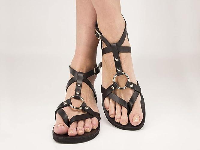 ef394ab63000 Handmade Genuine Leather Sandals Metal Ring