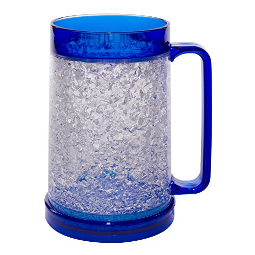Liquid Logic Double Wall Gel Freezer Mug with Color Infused Handle, 16 oz, Blue ()