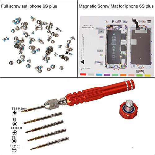 (eJiasu Professional Magnetic Project Pad Mat, Screw Sets, Pentalobe Screw Driver for iPhone 6/6 Plus / 6S / 6S Plus, iPhone 7/7 Plus(iPhone6s Plus Repair Tool Set))