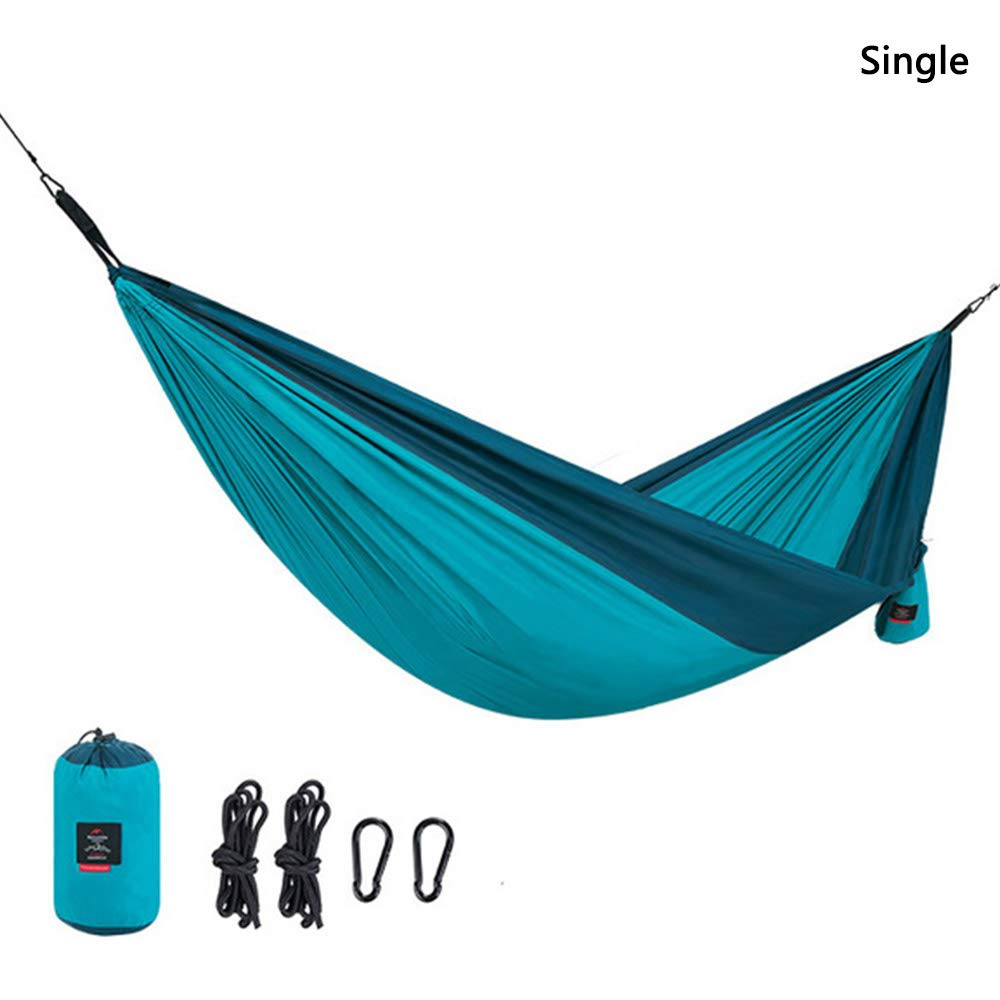 AMAZOIN Single&Double Camping Hammock - Lightweight Portable Pongee Parachute Hammock Blue Load 180 Kg for Camping, Outdoor, Backpack, Travel,Single