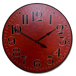 Houston Big Red Wall Clock, Available in 8 sizes, Most Sizes Ship 2 - 3 days, Whisper Quiet.