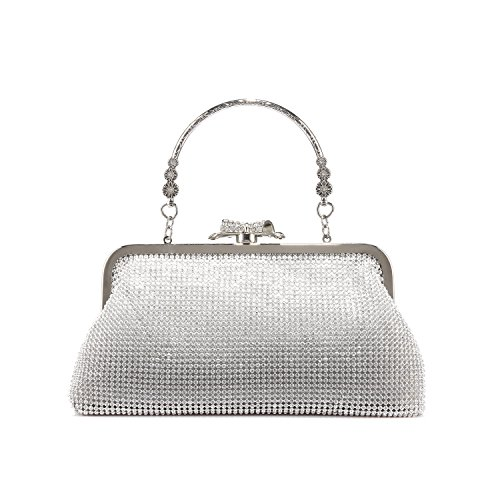 Clutch Purse Handbags for Womens Shoulder Bag for Bridal Wedding Party Prom Annual meeting with Sparkly Rhinestones Silver (Silver Evening Handbag)