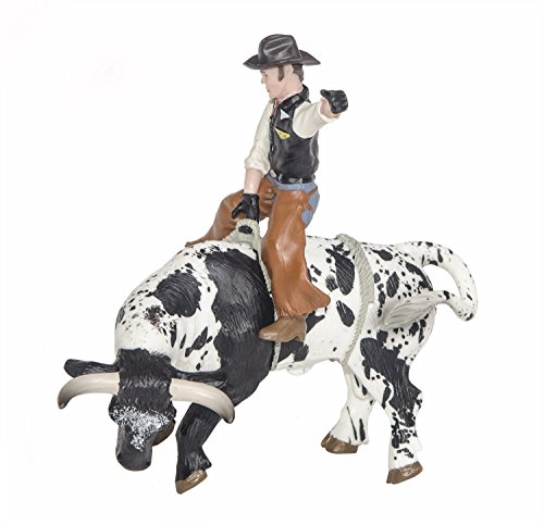 - Little Buster Toys Bull Rider - Cowboy on a Black and White Bucking Bull, 1/16th Scale