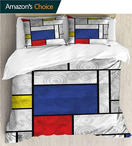 (carmaxs-home Kids Quilt 3 Piece Bedding Set,Box Stitched,Soft,Breathable,Hypoallergenic,Fade Resistant Bedding Sets,1 Duvet Cover,2 Pillowcase-Retro Mondrian Inspired Circles (68