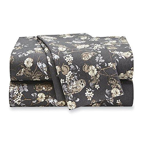 Cotton Toile Sheet Set (Essential Home Flannel Sheet Set (Full, Dark Gray Animal Toile))
