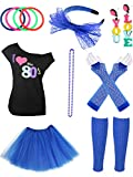 Jetec 80s Costume Accessories Set Necklace Bangle Leg Warmers Earrings Gloves Tutu Skirt T-Shirt for Party Accessory (L, Color Set 6)