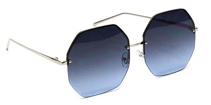6aae5fa880d Tantino Oversized Octagon Sunglasses Women s Rimless Geometric Flat Colored  Lens (Black