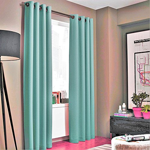GorgeousHomeLinenVarious of Colors 1-Piece #86, length 63″ Solid Insulated Foam Backing Lined Heavy Thick Blackout Hotel Quality Grommet Top, Matte Window Curtain Panel (teal blue)