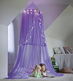 LED Purple Starlight Bower 24 dia. 84H Polyester girls room decor play space hideaway & Amazon.com: Snowflake Castle Hideaway Bed Canopy Hanging Play Tent ...