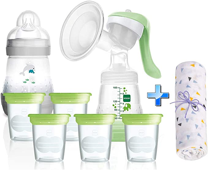 Mam Breast feeding Starter Set avec anti-colique Bouteilles /& breastpump-Vert-Neuf