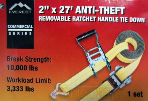 Everest Yellow Commercial Series 2'' in. x 27' ft. Anti-Theft Removable Ratchet Handle Tie Down - 3,333 lb. Workload Limit, 10,000 lb. Break Strength by EVEREST (Image #2)