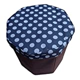 Daidu Non-Woven Fabric Foldable Storage Organizer Bin Box Ottoman Stool 9.8 x 9.8 x 9.8 inches for Student Kid Pupil Bedroom Dorm Desk,Blue