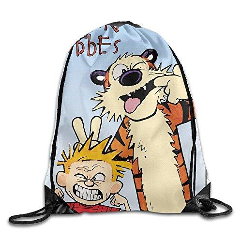 MaNeg Calvin And Hobbes Gym Drawstring Backpack&Travel Bag