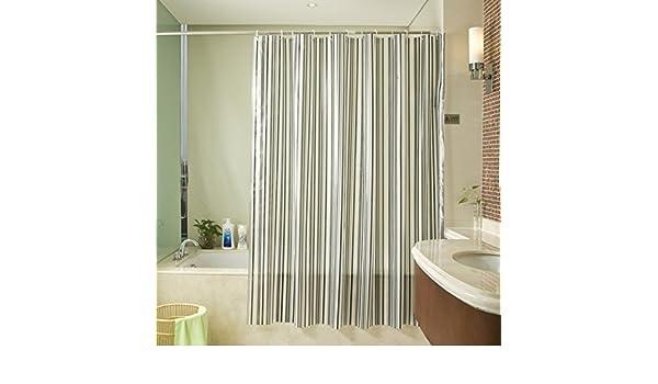 Cortina de ducha de pvc a rayas en blanco y negro,Prueba de moho impermeable baño mampara cortina Cortina de la puerta Cortina Sombra Persianas-B 180x180cm(71x71inch): Amazon.es: Hogar